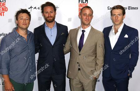 "Douglas Mateika, from left, Joshua Skurla, Casey Wilder Mott and Fran Kranz arrive at the 2017 Los Angeles Film Festival world premiere of ""A Midsummer Night's Dream"", in Santa Monica, Calif"