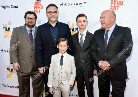 "Colin Trevorrow, second from left, director of ""The Book of Henry,"" poses with cast members, from left, Bobby Moynihan, Jacob Tremblay, Jaeden Lieberher and Dean Norris at the premiere of the film on the opening night of the 2017 Los Angeles Film Festival at the ArcLight Culver City, in Culver City, Calif"