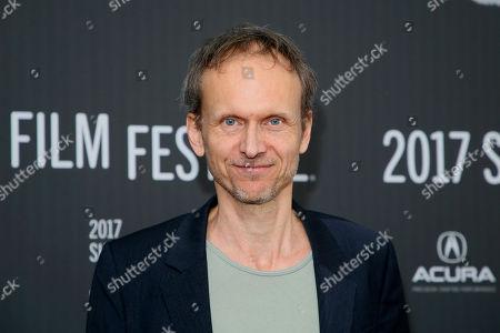"Director Julian Rosefeldt poses at the premiere of ""Manifesto"" during the 2017 Sundance Film Festival, in Park City, Utah"