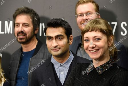 """Kumail Nanjiani, second from left, co-writer and star of """"The Big Sick,"""" and his wife and co-writer Emily Gordon, right, pose with cast members Ray Romano, left, and Kurt Braunohler at the premiere of the film at Eccles Theatre during the 2017 Sundance Film Festival, in Park City, Utah"""