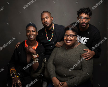 """Director Sabaah Folayan, from left, Tef Poe, Kayla Reed and director Damon Davis pose for a portrait to promote the film, """"Whose Streets?,"""" at the Music Lodge during the Sundance Film Festival, in Park City, Utah"""