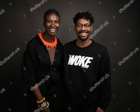 """Directors Sabaah Folayan, left, and Damon Davis pose for a portrait to promote the film, """"Whose Streets?,"""" at the Music Lodge during the Sundance Film Festival, in Park City, Utah"""