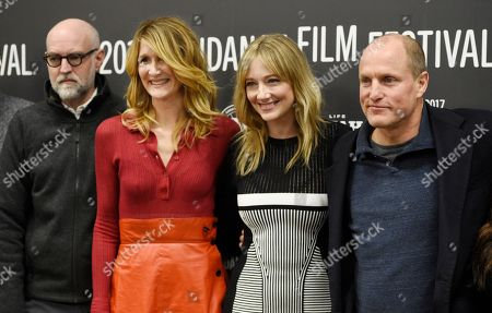 """Woody Harrelson, right, star of """"Wilson,"""" poses with, from left, screenwriter Daniel Clowes and cast members Laura Dern and Judy Greer at the premiere of the film at the Eccles Theatre during the 2017 Sundance Film Festival, in Park City, Utah"""