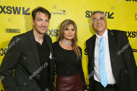 "Producers Brad Johnson, Parisa Caviani and Mehrdad Elie, from left, arrive at the world premiere of ""Small Town Crime"" at the Paramount Theatre during the South by Southwest Film Festival, in Austin, Texas"