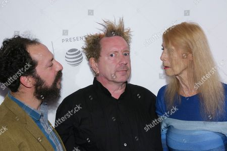 """Director Tabbert Fiiller, from left, John Lydon, known as Johnny Rotten, and Nora Forster attend a screening of """"The Public Image is Rotten"""" at the Spring Studios during the 2017 Tribeca Film Festival on in New York"""