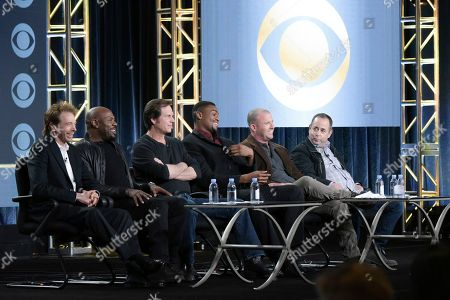 """Jerry Bruckheimer, from left, Antoine Fuqua, Bill Paxton, Justin Cornwell, Will Beall and Barry Schindel attend the """"Training Day"""" panel at the CBS portion of the 2017 Winter Television Critics Association press tour, in Pasadena, Calif"""