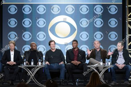 """Stock Image of Jerry Bruckheimer, from left, Antoine Fuqua, Bill Paxton, Justin Cornwell, Will Beall and Barry Schindel attend the """"Training Day"""" panel at the CBS portion of the 2017 Winter Television Critics Association press tour, in Pasadena, Calif"""