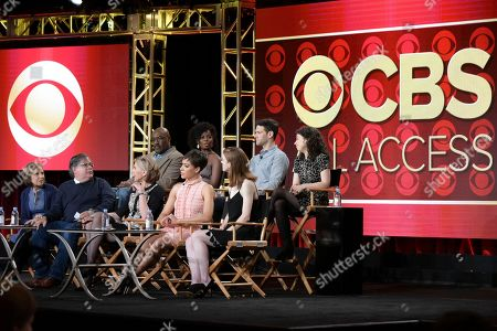 """Delroy Lindo, back row from left, Erica Tazel, Justin Bartha, Sarah Steele, Michelle King, Robert King, Christine Baranski, Cush Jumbo and Rose Leslie attend """"The Good Fight"""" panel at The CBS portion of the 2017 Winter Television Critics Association press tour, in Pasadena, Calif"""