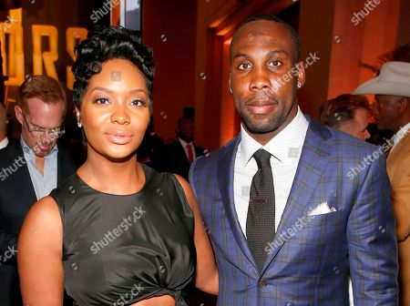 Anquan Boldin of the Detroit Lions, right, and Dionne Boldin attend the 6th annual NFL Honors at the Wortham Center, in Houston