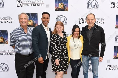 Stock Picture of PGA National Executive Director Vance Van Petten, DeVon Franklin, Sarah Schechter, Gloria Calderon Kellett and Marshall Herskovitz attend the 9th annual Produced By Conference at Twentieth Century Fox on in Los Angeles