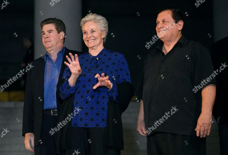 "Ralph Garman, left, Lee Meriwether and Burt Ward appear at a tribute to ""Batman"" star Adam West that included lighting a Bat-Signal at City Hall, in Los Angeles"