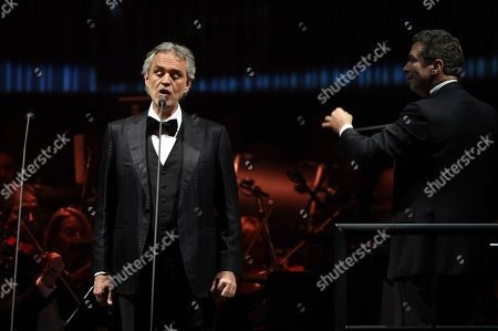 Singer Andrea Bocelli performs with conductor Eugene Kohn and The Philharmonic of New York at Madison Square Garden, in New York