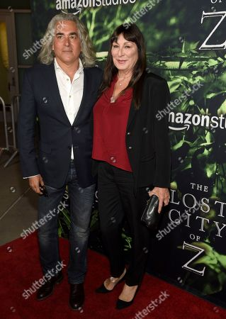 """Mitch Glazer, left, and Anjelica Huston arrive at the Los Angeles premiere of """"The Lost City of Z"""" at the ArcLight Hollywood on"""