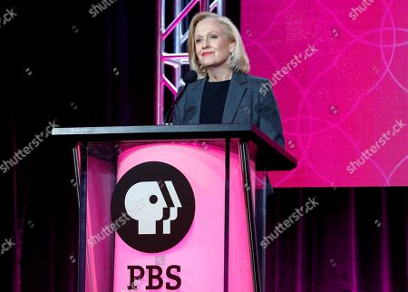 """President and CEO Paula Kerger speaks at the PBS's Executive Session at the 2017 Television Critics Association press tour in Pasadena, Calif. President Donald Trump's 2018 budget proposal plans to kill funding for the Corporation for Public Broadcasting (CPB). """"We're celebrating the 50th anniversary of the Public Broadcasting Act, what I think has been the most successful public-private partnership _ how ironic it would be if we were defunded this year,"""" said Kerger"""