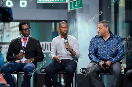 "Actor Orlando Jones, from left, director Kevin Hooks and actor Laurence Fishburne participate in the BUILD Speaker Series to discuss the television miniseries, ""Madiba"", at AOL Studios, in New York"