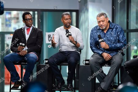 "Stock Photo of Actor Orlando Jones, left, director Kevin Hooks and actor Laurence Fishburne participate in the BUILD Speaker Series to discuss the television miniseries, ""Madiba"", at AOL Studios, in New York"