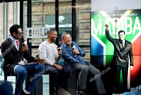 """Stock Photo of Actor Orlando Jones, left, director Kevin Hooks and actor Laurence Fishburne participate in the BUILD Speaker Series to discuss the television miniseries, """"Madiba"""", at AOL Studios, in New York"""
