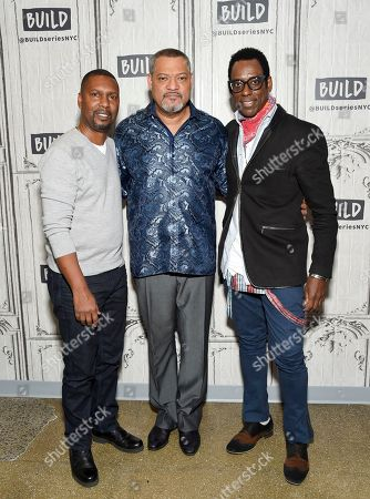 "Director Kevin Hooks, left, Laurence Fishburne and Orlando Jones participate in the BUILD Speaker Series to discuss the television miniseries, ""Madiba"", at AOL Studios, in New York"
