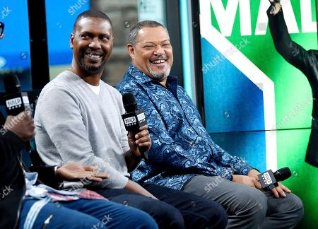"Director Kevin Hooks, left, and actor Laurence Fishburne participate in the BUILD Speaker Series to discuss the television miniseries, ""Madiba"", at AOL Studios, in New York"