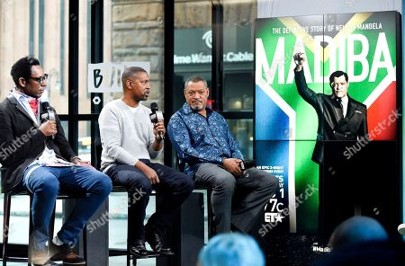 """Actor Orlando Jones, left, director Kevin Hooks and actor Laurence Fishburne participate in the BUILD Speaker Series to discuss the television miniseries, """"Madiba"""", at AOL Studios, in New York"""