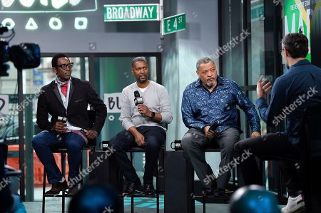 "Stock Image of Actor Orlando Jones, left, director Kevin Hooks and actor Laurence Fishburne participate in the BUILD Speaker Series to discuss the television miniseries, ""Madiba"", at AOL Studios, in New York"