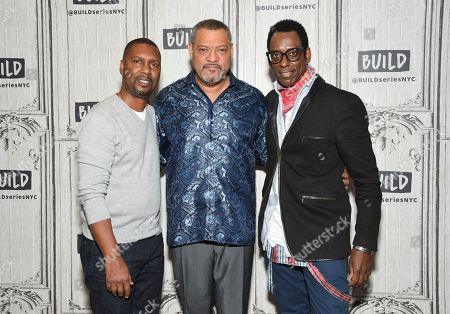 "Director Kevin Hooks, from left, Laurence Fishburne and Orlando Jones participate in the BUILD Speaker Series to discuss the television miniseries, ""Madiba"", at AOL Studios, in New York"