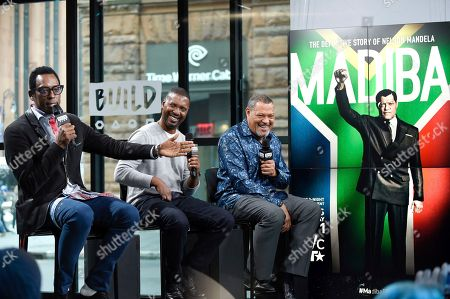 """Stock Picture of Actor Orlando Jones, left, director Kevin Hooks and actor Laurence Fishburne, right, participate in the BUILD Speaker Series to discuss the television miniseries, """"Madiba"""", at AOL Studios, in New York"""