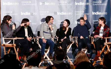 """Jason Schwartzman, from left, director Alex Ross Perry, Emily Browning, Adam Horovitz and Analeigh Tipton from the film """"Golden Exits"""" talk at the """"Indiewire in Conversation"""" panel at Chase Sapphire on Main, during the 2017 Sundance Film Festival, in Park City, Utah"""