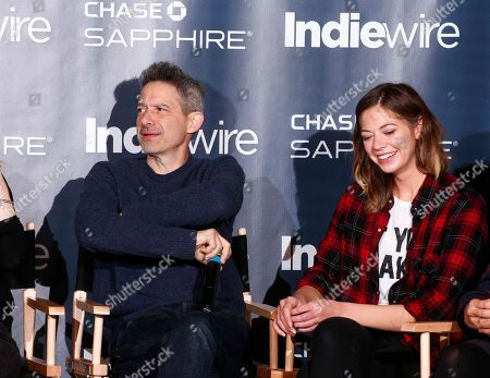 """Adam Horovitz, left, and Analeigh Tipton from the film """"Golden Exits"""" talk at the """"Indiewire in Conversation"""" panel at Chase Sapphire on Main, during the 2017 Sundance Film Festival, in Park City, Utah"""