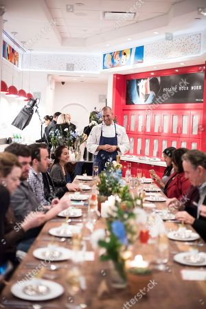 Guests enjoy a special dinner as Chef Mathew Peters and Chef Travis Swikard recreated classic dishes by ment'or founders Chefs Thomas Keller and Daniel Boulud with Kellogg's cereal at Kellogg's NYC, in New York