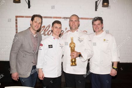Anthony Rudolf, Chef Harrison Turone, Chef Mathew Peters and Chef Travis Swikard recreated classic dishes by ment'or founders Chefs Thomas Keller and Daniel Boulud with Kellogg's cereal at Kellogg's NYC, in New York