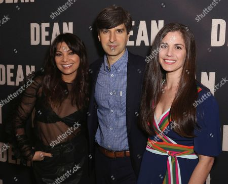 """Ginger Gonzaga, from left, Demetri Martin and Rachael Beame arrive at the LA Special Screening of """"Dean"""" at the ArcLight Hollywood, in Los Angeles"""