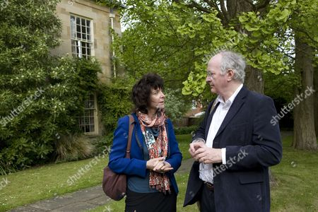 Ruth Padel pictured with Philip Pullman at a garden party at Hollywell Manor before being made Professor of Poetry