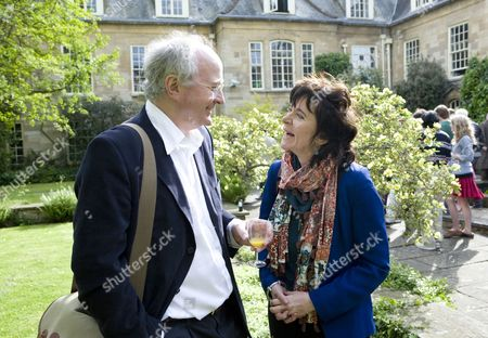 Philip Pullman and Ruth Padel at a garden party at Hollywell Manor before being made Professor of Poetry