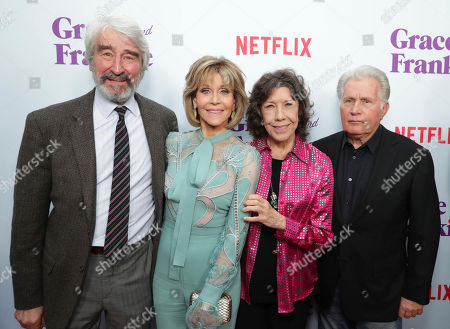 Sam Waterston, Jane Fonda, Lily Tomlin and Martin Sheen seen at Netflix Grace and Frankie Season 3 special screening at Arclight Hollywood, in Los Angeles, CA
