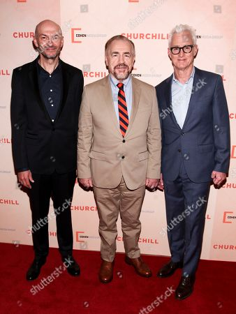 "Jonathan Teplitzky, from left, Brian Cox and John Slattery attend the premiere of ""Churchill"" at The Whitby Hotel, in New York"