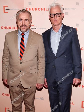 "Brian Cox, left, and John Slattery, right, attend the premiere of ""Churchill"" at The Whitby Hotel, in New York"