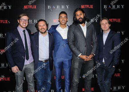 "Ben Stillman, from left, Teddy Schwarzman, Devon Terrell, Vikram Gandhi, and Dana O'Keefe attend special screening of the Netflix Original Film ""Barry"", hosted by The Cinema Society,, in New York"