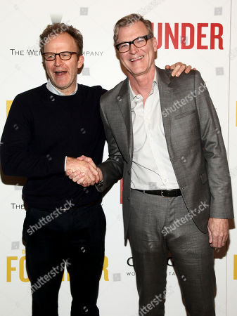 "Tom McCarthy, left, and John Lee Hancock, right, attend a special screening of ""The Founder"", hosted by The Cinema Society, at The Roxy, in New York"