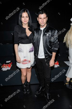 Leigh Lezark, left, and Geordon Nicol are seen at Jeremy Scott at Skylight Clarkson Square, in New York