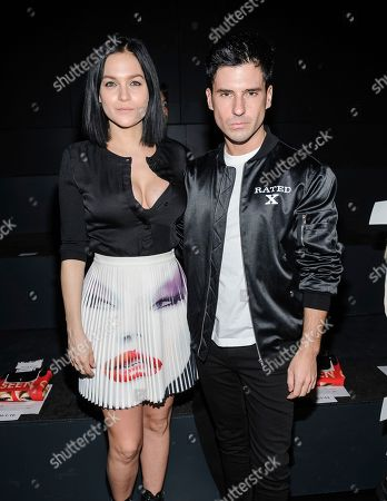 Leigh Lezark, left, and Geordon Nicol are seen at Jeremy Scott's fashion presentation at Skylight Clarkson Square, in New York