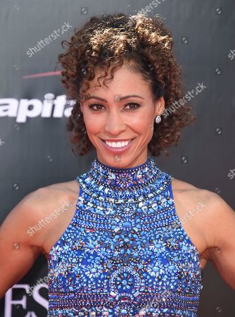 Sage Steele arrives at the ESPY Awards at the Microsoft Theater in Los Angeles. Steele, an ESPN anchor who vented about missing her flight Sunday, Jan. 29, 2017, on Instagram because of airport immigration protesters, is drawing criticism from people who say she is being insensitive