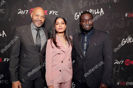 "Executive Producer John Ridley, Freida Pinto and Babou Ceesay seen at Showtime's ""Guerilla"" ATAS FYC Event at WGA, in Los Angeles"