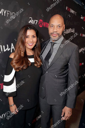 """Gayle Ridley and Executive Producer John Ridley seen at Showtime's """"Guerilla"""" ATAS FYC Event at WGA, in Los Angeles"""