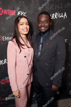 "Freida Pinto and Babou Ceesay seen at Showtime's ""Guerilla"" ATAS FYC Event at WGA, in Los Angeles"