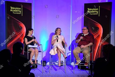 "IMAGE DISTRIBUTED FOR THE TELEVISION ACADEMY - Hulu executive Beatrice Springborn, from left, actress Elisabeth Moss and show runner-producer Bruce Miller discuss the challenge of translating a classic dystopian novel into a television series in the Television Academy Foundation's alumni and networking event, ""The Handmaid's Tale -- From Script to Screen"" at the Saban Media Center on in North Hollywood, Calif"