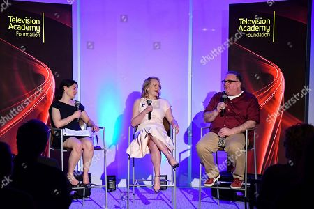 "Hulu executive Beatrice Springborn, from left, actress Elisabeth Moss and show runner-producer Bruce Miller discuss the challenge of translating a classic dystopian novel into a television series in the Television Academy Foundation's alumni and networking event, ""The Handmaid's Tale -- From Script to Screen"" at the Saban Media Center on in North Hollywood, Calif"