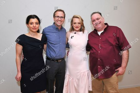 "Hulu executive Beatrice Springborn, from left, Maury McIntyre, President and COO, The Television Academy, actress Elisabeth Moss and show runner-producer Bruce Miller discuss the challenge of translating a classic dystopian novel into a television series in the Television Academy Foundation's alumni and networking event, ""The Handmaid's Tale -- From Script to Screen"" at the Saban Media Center on in North Hollywood, Calif"