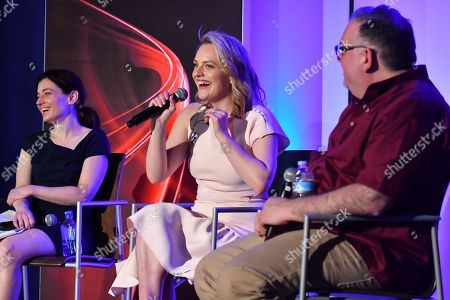 "Stock Picture of Hulu executive Beatrice Springborn, from left, actress Elisabeth Moss and show runner-producer Bruce Miller discuss the challenge of translating a classic dystopian novel into a television series in the Television Academy Foundation's alumni and networking event, ""The Handmaid's Tale -- From Script to Screen"" at the Saban Media Center on in North Hollywood, Calif"