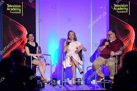 "Stock Photo of IMAGE DISTRIBUTED FOR THE TELEVISION ACADEMY - Hulu executive Beatrice Springborn, from left, actress Elisabeth Moss and show runner-producer Bruce Miller discuss the challenge of translating a classic dystopian novel into a television series in the Television Academy Foundation's alumni and networking event, ""The Handmaid's Tale -- From Script to Screen"" at the Saban Media Center on in North Hollywood, Calif"